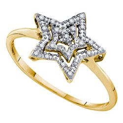 1/20 CTW Round Diamond Star Ring 10kt Yellow Gold - REF-7N5Y