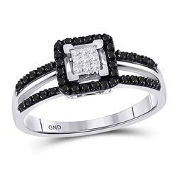 1/3 CTW Round Black Color Enhanced Diamond Cluster Ring 10kt White Gold - REF-18T3K