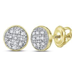 1/20 CTW Mens Round Diamond Circle Cluster Stud Earrings 10kt Yellow Gold - REF-7R5H
