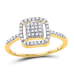 1/8 CTW Round Diamond Square Cluster Ring 10kt Yellow Gold - REF-11F9M