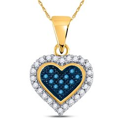 1/8 CTW Round Blue Color Enhanced Diamond Cluster Small Heart Pendant 10kt Yellow Gold - REF-8Y4X