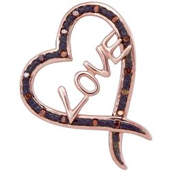 1/20 CTW Round Red Color Enhanced Diamond Heart Pendant 10kt Rose Gold - REF-11N9Y
