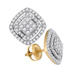 1/2 CTW Round Diamond Square Frame Cluster Earrings 14kt Yellow Gold - REF-51K5R