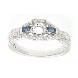 0.43 CTW Sapphire & Diamond Semi Mount Ring 14K White Gold - REF-41X3R