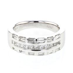 0.91 CTW Princess Diamond Ring 18K White Gold - REF-128Y4X