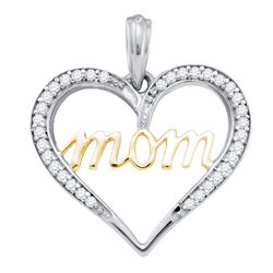 1/8 CTW Round Diamond Heart Mom Mother Pendant 10kt Two-tone Gold - REF-11T9K
