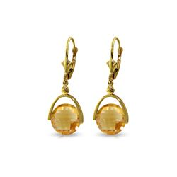 Genuine 6.5 ctw Citrine Earrings 14KT Yellow Gold - REF-43R4P