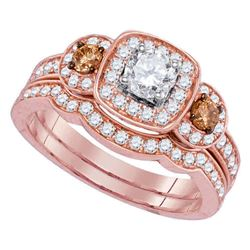 1 CTW Round Diamond Bridal Wedding Engagement Ring 14kt Rose Gold - REF-113X9T