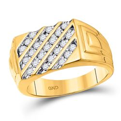 1/2 CTW Mens Round Channel-set Diamond Diagonal Stripe Ring 10kt Yellow Gold - REF-31A5N