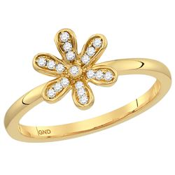 1/8 CTW Round Diamond Flower Floral Stackable Ring 14kt Yellow Gold - REF-21F5M