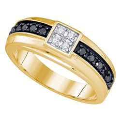 1/2 CTW Mens Round Black Color Enhanced Diamond Cluster Wedding Ring 10kt Yellow Gold - REF-33A3N