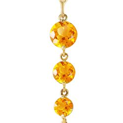 Genuine 3.9 ctw Citrine Necklace 14KT Yellow Gold - REF-23F5Z