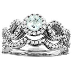 0.92 CTW Aquamarine & Diamond Ring 10K White Gold - REF-82A6X