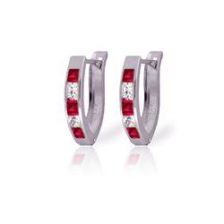 Genuine 1.26 ctw Ruby & White Topaz Earrings 14KT White Gold - REF-26F2Z