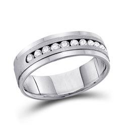 1/2 CTW Mens Machine Set Round Diamond Wedding Channel Ring 14kt White Gold - REF-81H3W