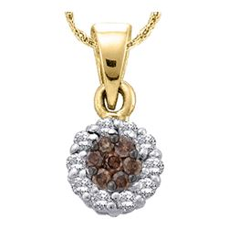 1 CTW Brown Diamond Round Flower Cluster Pendant 14kt Yellow Gold - REF-41M9A