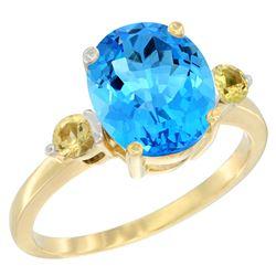 2.64 CTW Swiss Blue Topaz & Yellow Sapphire Ring 10K Yellow Gold - REF-24W5F