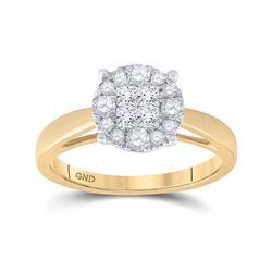 1/2 CTW Princess Diamond Bridal Wedding Engagement Ring 14kt Yellow Gold - REF-57N3Y