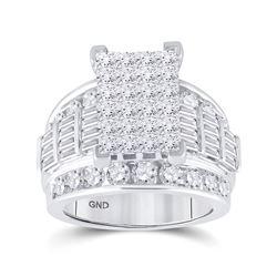 4 CTW Princess Diamond Cluster Bridal Wedding Engagement Ring 14kt White Gold - REF-324A3N