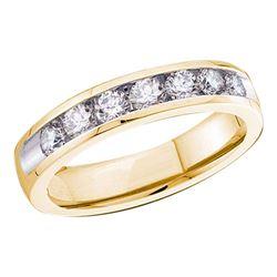 3/4 CTW Round Diamond Channel-set 4mm Wedding Ring 14kt Yellow Gold - REF-69K3R
