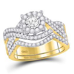 1 CTW Round Diamond Contoured Bridal Wedding Engagement Ring 10kt Yellow Gold - REF-93Y3X