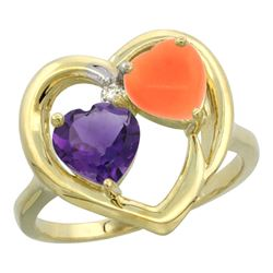 1.31 CTW Amethyst & Diamond Ring 10K Yellow Gold - REF-23M5K
