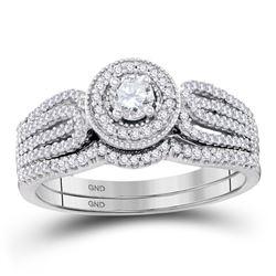 1/2 CTW Round Diamond Bridal Wedding Engagement Ring 10kt White Gold - REF-51H5W