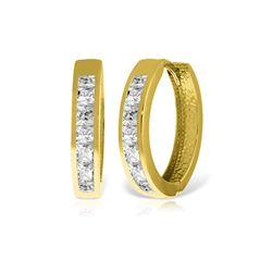Genuine 1.85 ctw White Topaz Earrings 14KT Yellow Gold - REF-57N6R
