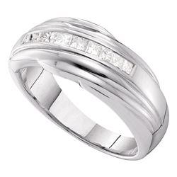 1/2 CTW Mens Princess Channel-set Diamond Single Row Wedding Ring 14kt White Gold - REF-83N9Y