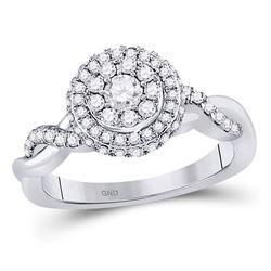3/4 CTW Round Diamond Cluster Bridal Wedding Engagement Ring 10kt White Gold - REF-69Y3X
