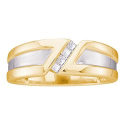 1/6 CTW Mens Princess Diamond Single Row Two-tone Wedding Ring 14kt Yellow Gold - REF-39H6W