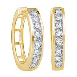 1/2 CTW Round Diamond Hoop Earrings 10kt Yellow Gold - REF-41N9Y