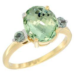 2.64 CTW Amethyst & Green Sapphire Ring 10K Yellow Gold - REF-24H5M