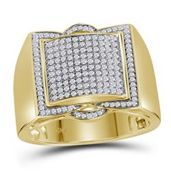 1/2 CTW Mens Round Diamond Framed Square Cluster Ring 10kt Yellow Gold - REF-54W3F