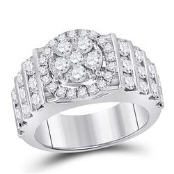 3 & 5/8 CTW Round Diamond Bridal Wedding Engagement Ring 14kt White Gold - REF-287R9H
