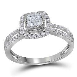 1/2 CTW Princess Diamond Cluster Fashion Ring 14kt White Gold - REF-39T6K