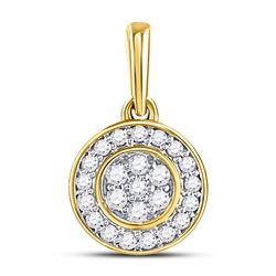1/6 CTW Round Diamond Circle Frame Flower Cluster Pendant 10kt Yellow Gold - REF-13X2T