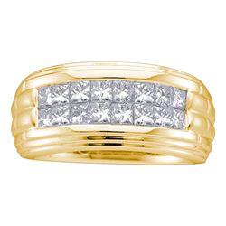 1/2 CTW Mens Princess Diamond Double Row Wedding Ring 14kt Yellow Gold - REF-83M9A