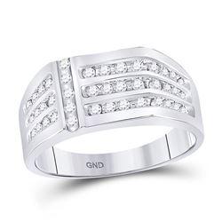 1/2 CTW Mens Round Diamond Triple Row Fashion Ring 14kt White Gold - REF-41T9K