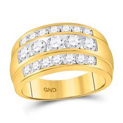 2 & 1/3 CTW Mens Round Diamond Triple Row Ring 14kt Yellow Gold - REF-239R9H