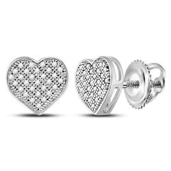 1/6 CTW Round Diamond Heart Earrings 10kt White Gold - REF-13M2A