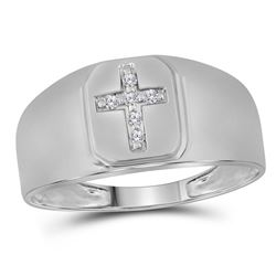 1/20 CTW Mens Round Diamond Brushed Matte Cross Ring 10kt White Gold - REF-15T3K
