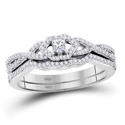 1/3 CTW Princess Diamond Bridal Wedding Engagement Ring 10kt White Gold - REF-33R6H