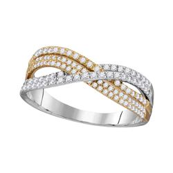 1/2 CTW Round Diamond Crossover Ring 10kt Two-tone Gold - REF-30T3K