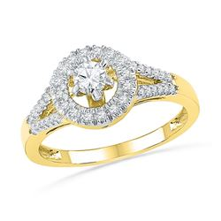 3/8 CTW Round Diamond Solitaire Split-shank Bridal Wedding Engagement Ring 10kt Yellow Gold - REF-35