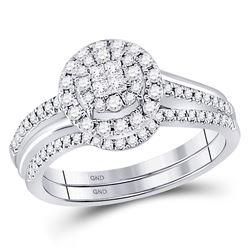 1/2 CTW Princess Diamond Bridal Wedding Engagement Ring 14kt White Gold - REF-60F3M