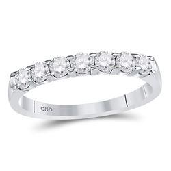 1/2 CTW Round Diamond Single Row Machine-set Wedding Ring 14kt White Gold - REF-41R9H