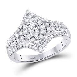 7/8 CTW Round Diamond Cluster Bridal Wedding Engagement Ring 14kt White Gold - REF-77M9A