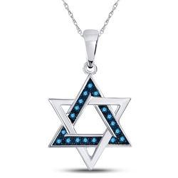 1/10 CTW Round Blue Color Enhanced Diamond Magen David Star Pendant 10kt White Gold - REF-14N4Y