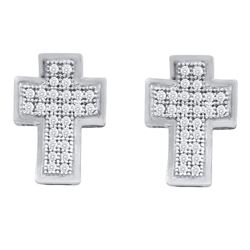 1/6 CTW Round Diamond Cross Earrings 10kt White Gold - REF-13X2T